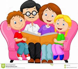 Happy family reading book stock vector. Illustration of ...
