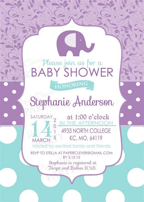 Purple Baby Shower Invitations by Baby Shower Invitations Modern Purple By