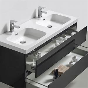 Meuble bas de salle de bains gris HAPPY avec plan et 2 vasques (55X120X48)