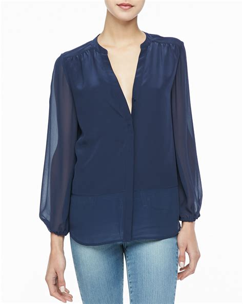 navy blue silk blouse fashion ql