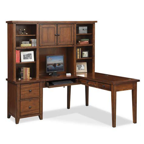 american signature furniture desk morgan l shaped desk with hutch brown american
