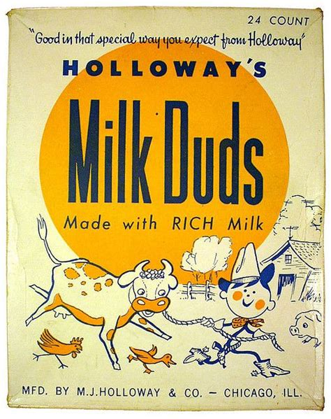 holloways milk duds box packaging vintage candy