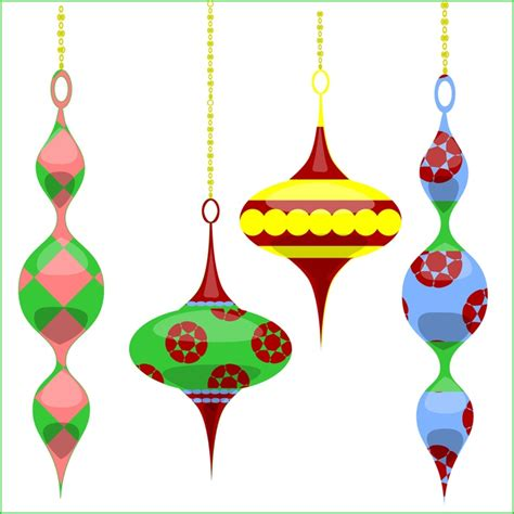 christmas ornaments clipart retro pencil and in color