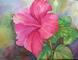 watercolor panting of hibiscus flower from tutorial by ...