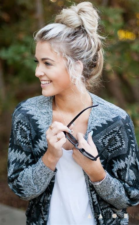 casual chic top knot hairstyle   woman   occasion pretty designs