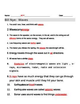 bill nye waves worksheet answers bill nye waves worksheet by jjms teachers pay teachers