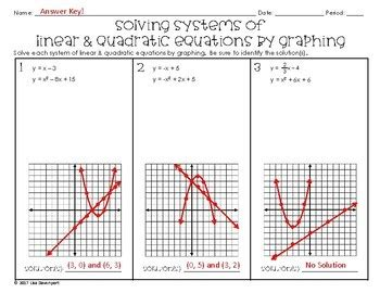 solving quadratic equations  graphing worksheet answer