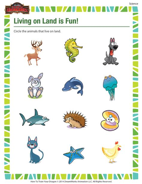 living on land is kindergarten science printable on