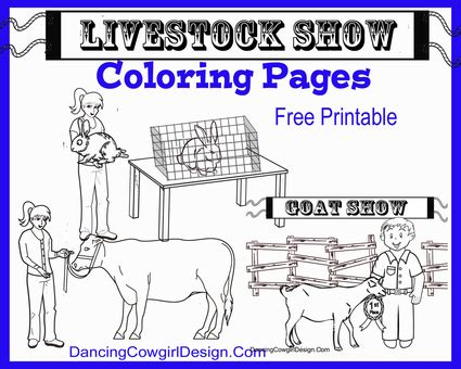 livestock show animals coloring pages dancing cowgirl design