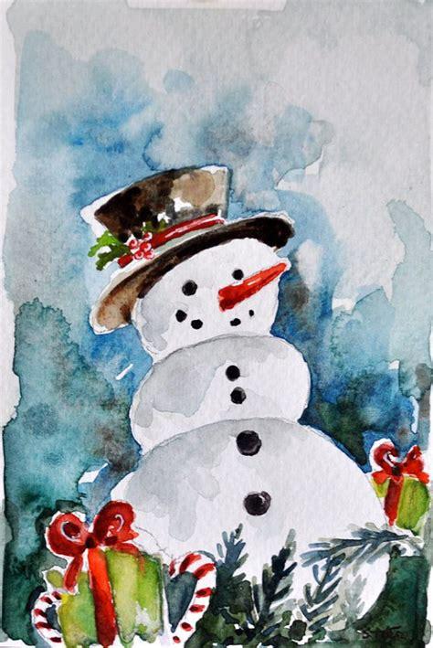 original aquarell gemaelde schneemann weihnachtskarte