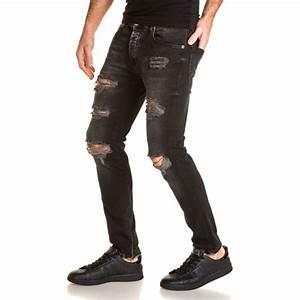 Jean Slim Noir Homme : jean urban locker jean noir homme destroy trou d lav ~ Voncanada.com Idées de Décoration