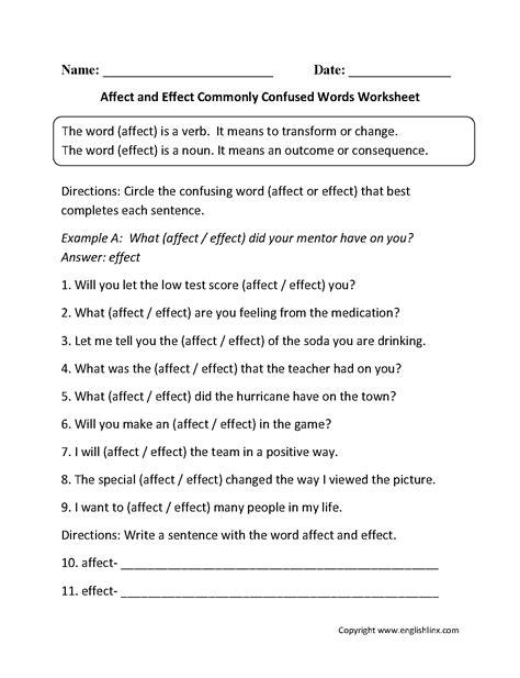 affect effect worksheet worksheet affect vs effect worksheet grass fedjp
