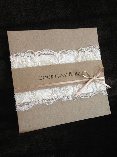 handmade vintage lace wedding invitation by