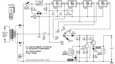 Stabilized Power Supply With Short Circuit Protection