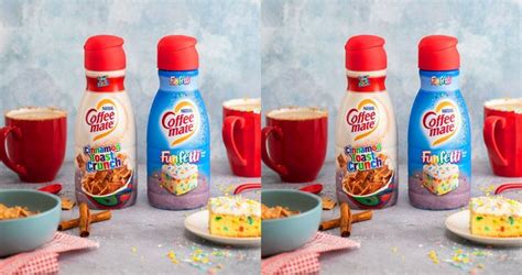 The coffee mate cinnamon toast crunch creamer has a flavor profile of your favorite cereal including cinnamon, brown sugar, and hints of as for the coffee mate funfetti creamer, notes of vanilla, cake batter and a sweet finish reminiscent of frosting are at the forefront of this dairy creamer. Coffee-Mate Is Releasing Cinnamon Toast Crunch And Funfetti Creamers #cinnamontoastcrunch in ...