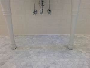 Small or larger hexagon tile in 1920 bathroom for Marble hex tile bathroom floor