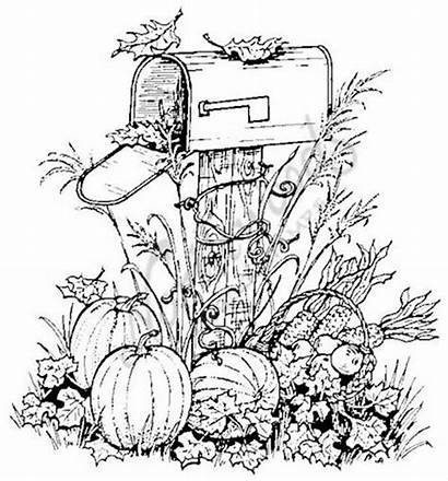 Coloring Fall Pages Autumn Pumpkins Halloween Scene