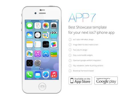 ios app templates ios 7 app landing template psd freebie