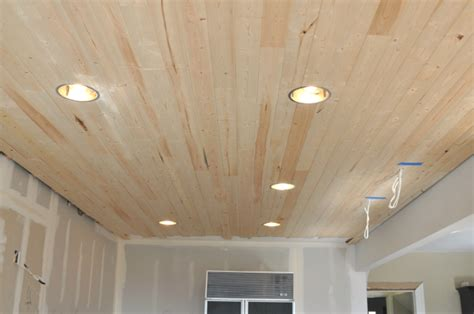 Kitchen Paneling Ideas - diy how to install a wood planked ceiling house updated
