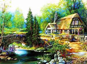 Beautiful Cottage Desktop Wallpapers Bridge Trees ...