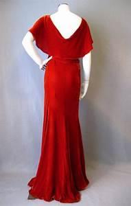 SOLD Vintage 30s Dress Evening Gown Velvet Bias Cut Small ...
