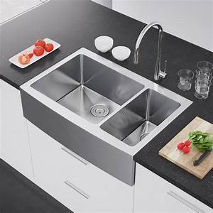 exclusive heritage 36 x 22 double bowl 70 30 stainless With apron vs farmhouse sink