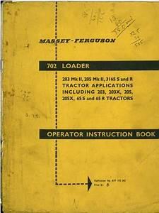 Massey Ferguson 702 Loader Operators Manual