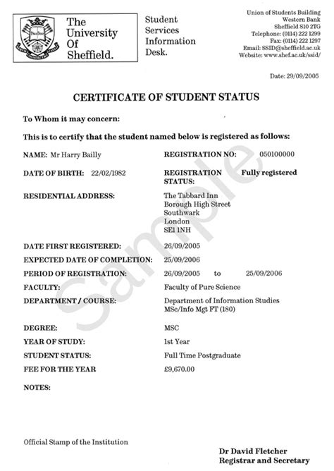 term time address certificate  student status