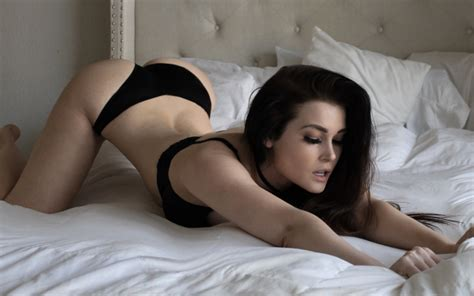 photo niece waidhofer model dark hair in bed lingerie arched back bottom up ass panties