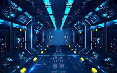 Sci Fi Corridor Station Spaceship Tunnel Widescreen