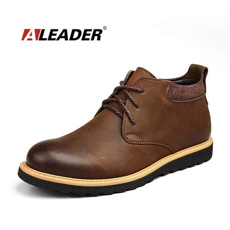 Aleader Waterproof Men Boots Leather Shoes Casual
