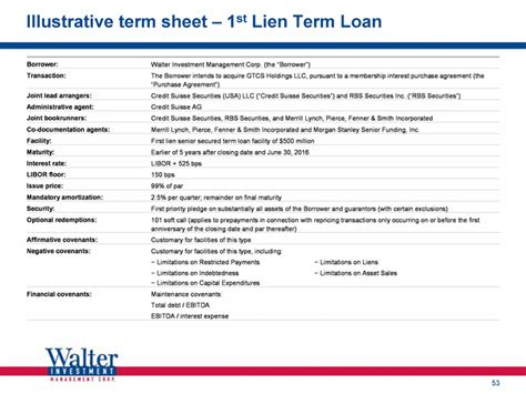 illustrative term sheet 1st lien term loan