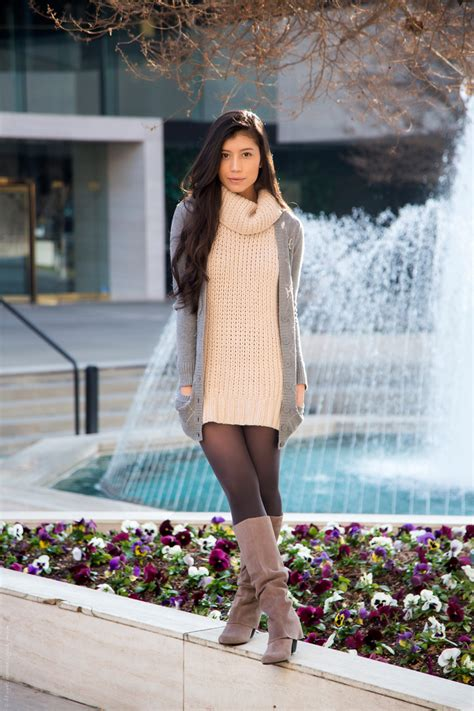 Suede Boots to Wear with Tights