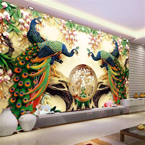 custom  wall mural wallpaper   woven peacock living