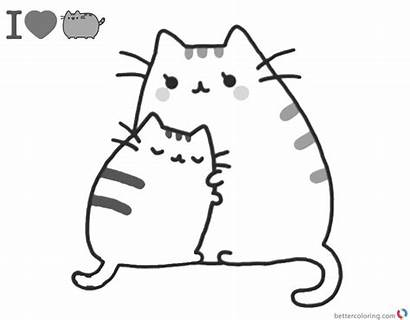 Pusheen Coloring Pages Printable Hug Cat Cartoon