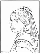Coloring Famous Johannes Pages Artwork Vermeer Pearl Earring Printable Elementary sketch template