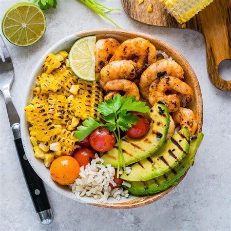 clean eating meal prep grilled shrimp bowls cilantro