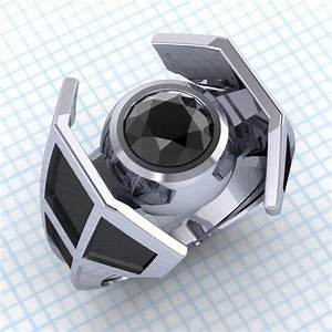 Star wars x wing and tie fighter engagement rings geekologie for Star wars mens wedding ring