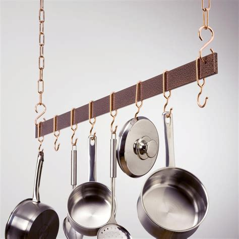 hammered copper hanging bar pot rack pot racks  hayneedle
