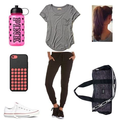 U0026quot;Gym Outfit for Schoolu0026quot; by melanie125-1 liked on Polyvore featuring Charlotte Russe Hollister ...