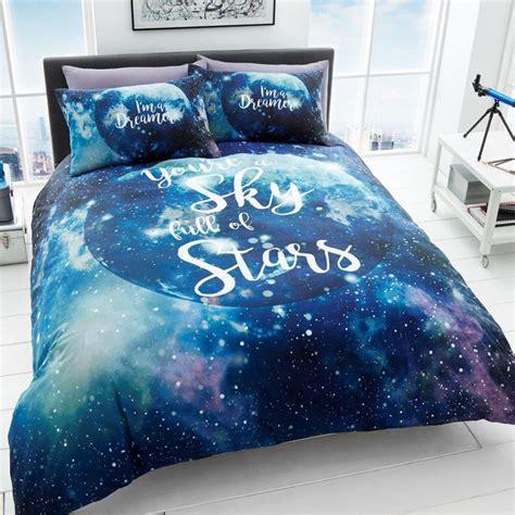 dreamer galaxy space stars duvet cover set blue bedding