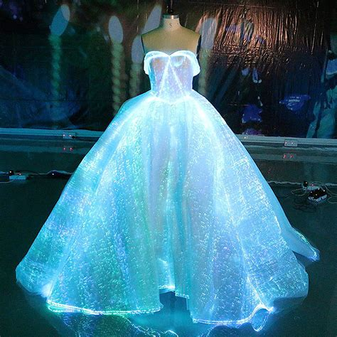 Fiber Optic Fabric Clothing Luminous Fiber Optic Wedding Dress   NoveltyStreet