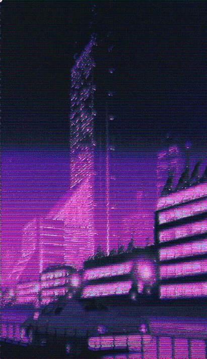 Aesthetic Purple Retro Glitch Neon Vaporwave Pixel