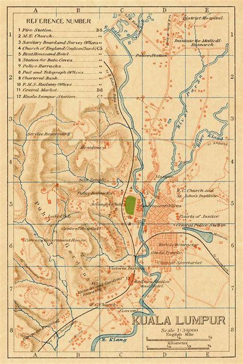 kuala lumpur  vintage maps pinterest map