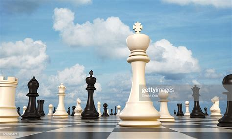 chess board king  foreground sky  background stock