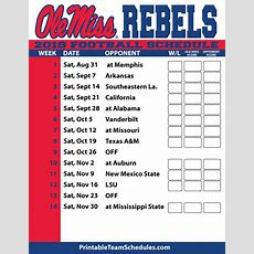 2019 Printable Ole Miss Football Schedule