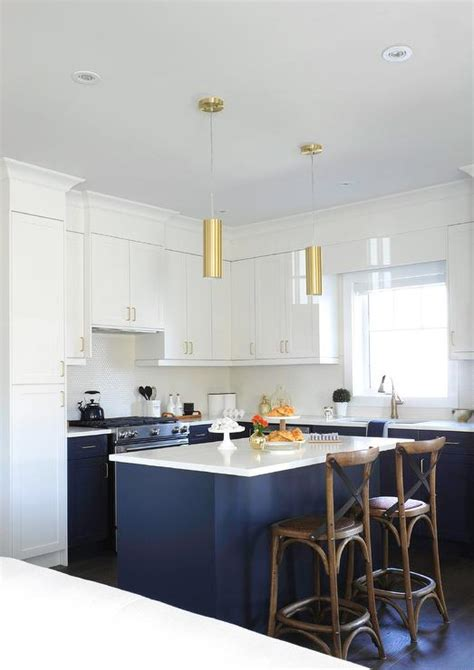 white  blue kitchen  gold accents transitional