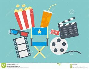 Movie Popcorn, Ticket, Clapperboard, Film Stock Vector ...