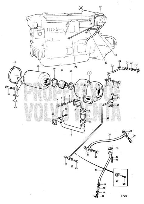 volvo penta exploded view schematic turbo  air filter