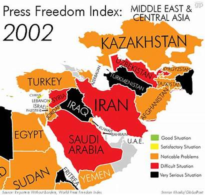 Countries Middle East Maps Worst Journalists Much